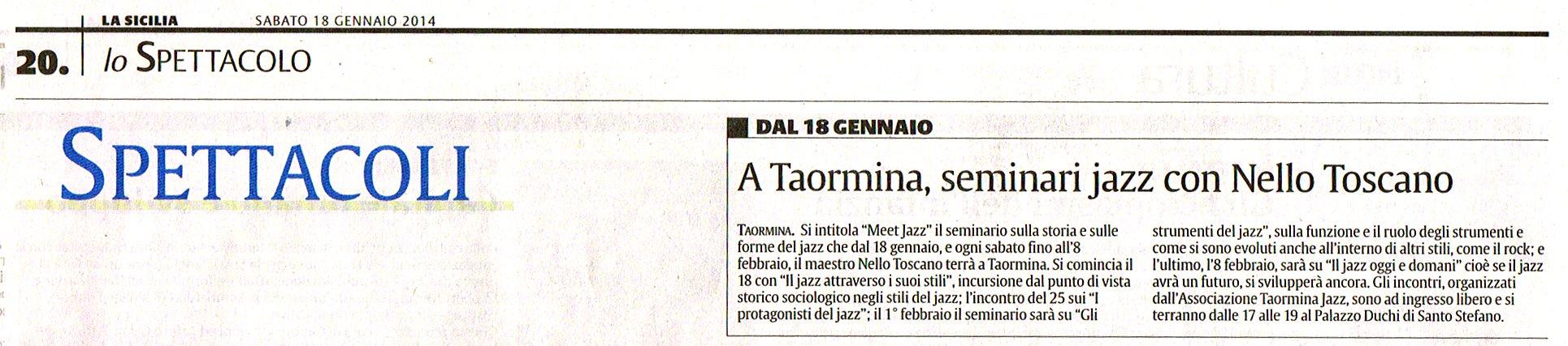 La Sicilia, 18 Gennaio 2014